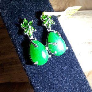 Jade & Diopside Earrings - Platinum over Sterling